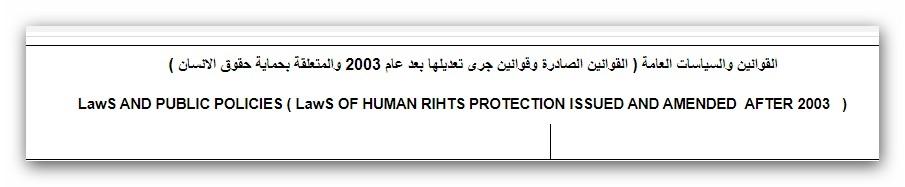 Iالقوانين والسياسات العامة ( القوانين الصادرة وقوانين جرى تعديلها بعد عام 2003 والمتعلقة بحماية حقوق الانسان )