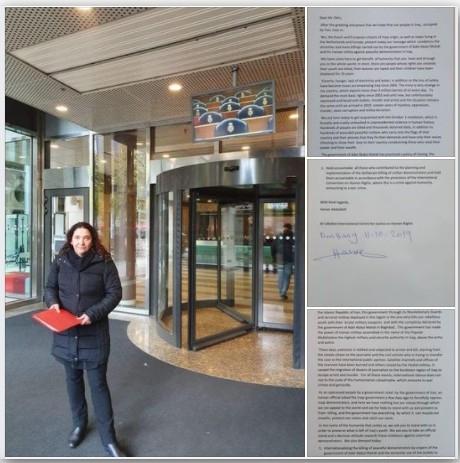 Iحنان عبد اللطيف تسليم مذكرة احتجاجية باسم مركز الرافدين الدولي للعدالة وحقوق الانسان الى رئيسة لجنة العلاقات الخارجية في البرلمان الهولندي السيدة بيا ديكسترا